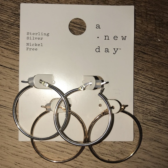 a new day Jewelry - TWO PAIR OF HOOP EARRINGS! Silver & Rose Gold—NWT